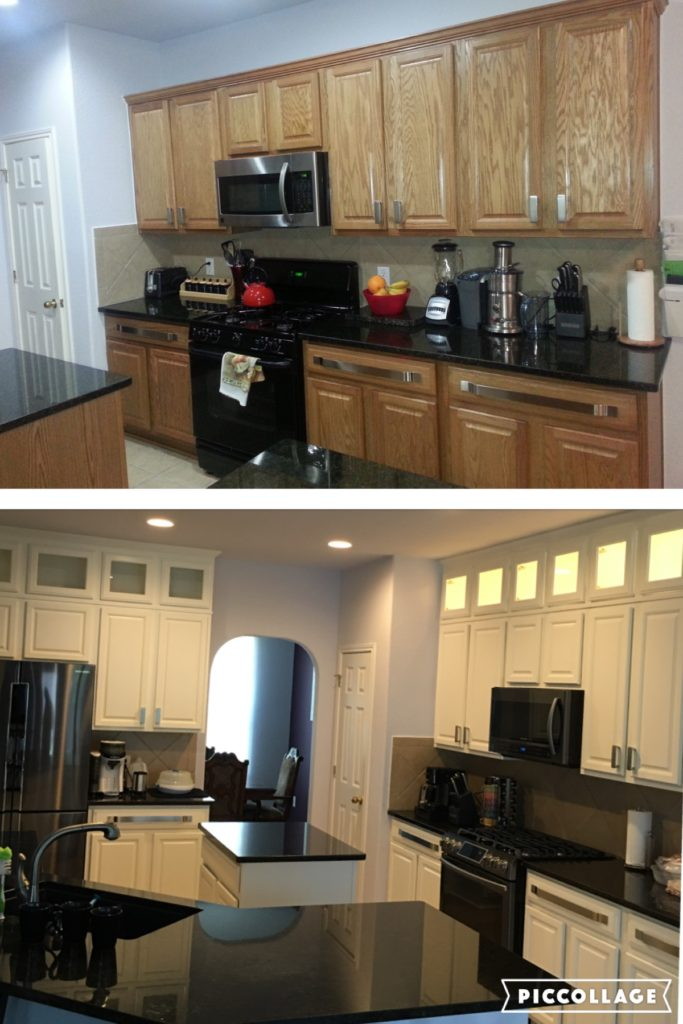 Before and after oak kitchen refinish. Plus added glass upper cabinets.