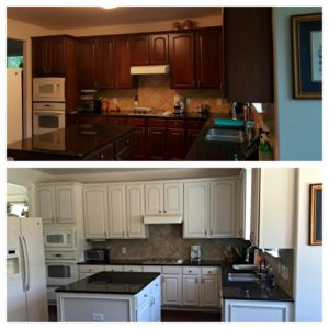 White kitchen cabinet refinish before and after.